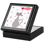 Pink Gray Love Cat Keepsake Box