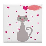 Pink Gray Love Cat Tile Coaster