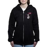 Pink Gray Love Cat Women's Zip Hoodie