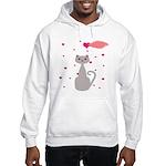 Pink Gray Love Cat Hoodie