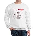 Pink Gray Love Cat Sweatshirt