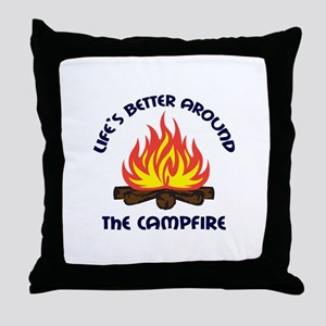 AROUND THE CAMPFIRE Throw Pillow