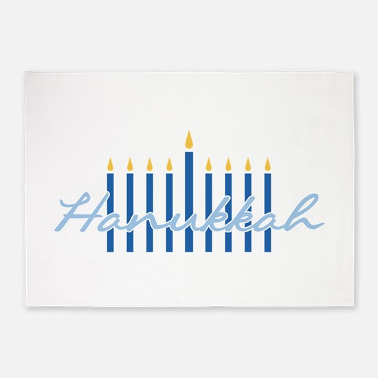 Hanukkah Candles 5'x7'Area Rug