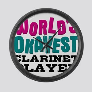 World's Okayest Clarinet Player Large Wall Clock