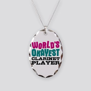 World's Okayest Clarinet Playe Necklace Oval Charm