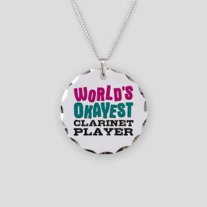 World's Okayest Clarinet Pla Necklace Circle Charm