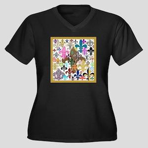 Fleur De Lis Women's V-Neck Dark Plus Size T-Shirt