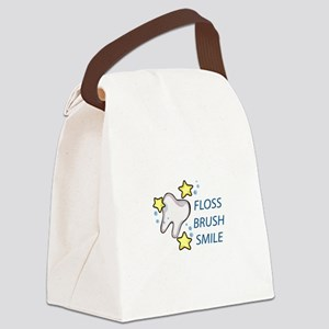 Floss Brush Smile Canvas Lunch Bag