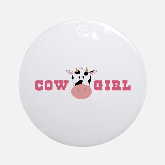 Cow Girl Ornament (Round)