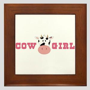 Cow Girl Framed Tile
