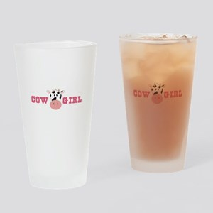 Cow Girl Drinking Glass