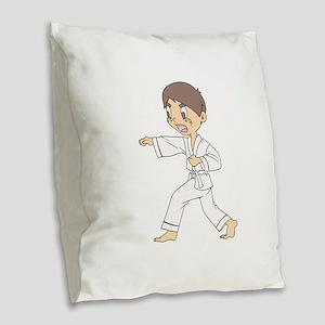KARATE BOY Burlap Throw Pillow