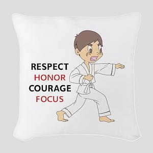 COURAGE HONOR RESPECT Woven Throw Pillow