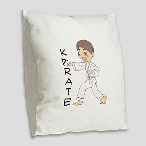KARATE Burlap Throw Pillow
