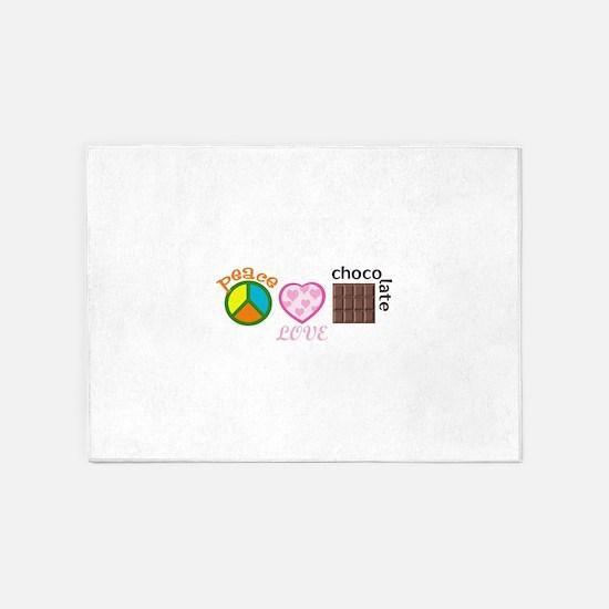 PEACE LOVE CHOCOLATE 5'x7'Area Rug