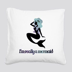 I'm really a mermaid silhouette Square Canvas Pill