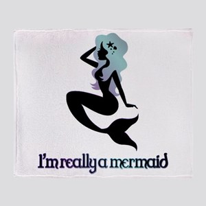 I'm really a mermaid silhouette Throw Blanket