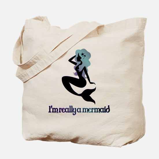 I'm really a mermaid silhouette Tote Bag