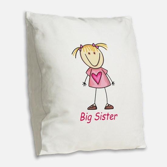 BIG SISTER Burlap Throw Pillow