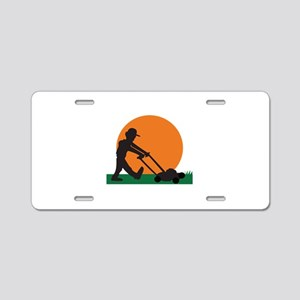 MAN MOWING LAWN Aluminum License Plate