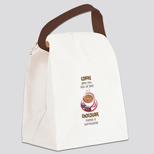 GETS YOU OUT OF BED Canvas Lunch Bag