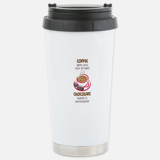 GETS YOU OUT OF BED Travel Mug