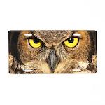 Horned Owl Face Aluminum License Plate