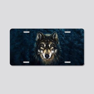 Artistic Wolf Face Aluminum License Plate