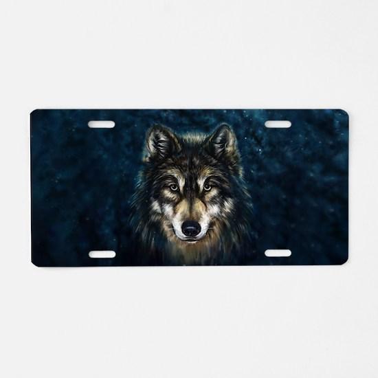 Artistic Wolf Face Aluminum License Plate