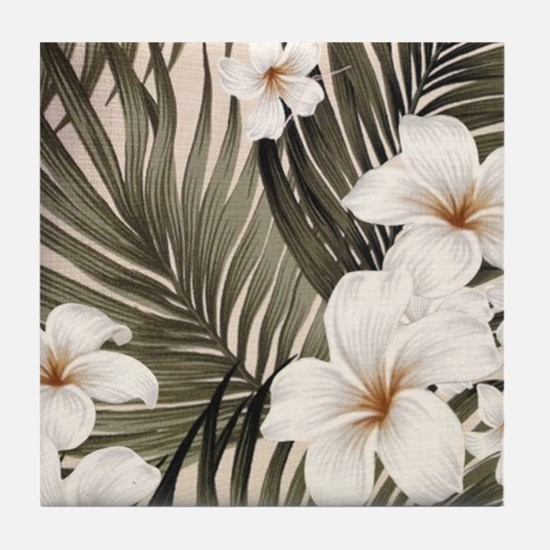 Hibiscus Hawaii Retro Aloha Print Tile Coaster