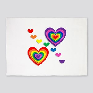 A Rainbow For My Valentine 5'x7'Area Rug