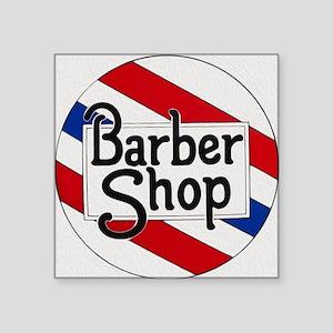 "Vintage Barbershop Logo Square Sticker 3"" x 3"""