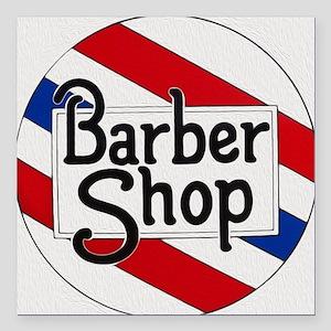 """Vintage Barbershop Logo Square Car Magnet 3"""" x 3"""""""