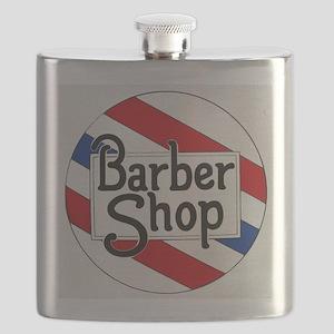 Vintage Barbershop Logo Flask