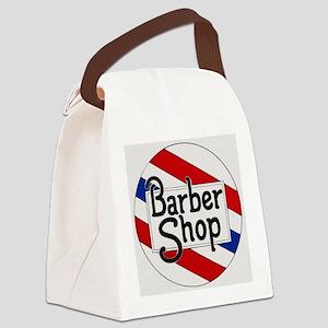 Vintage Barbershop Logo Canvas Lunch Bag