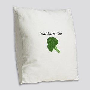 Custom Broccoli Burlap Throw Pillow
