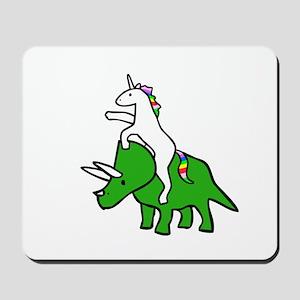 Unicorn Riding Triceratops Mousepad