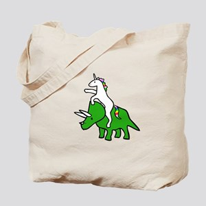 Unicorn Riding Triceratops Tote Bag