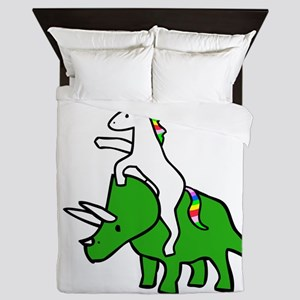 Unicorn Riding Triceratops Queen Duvet