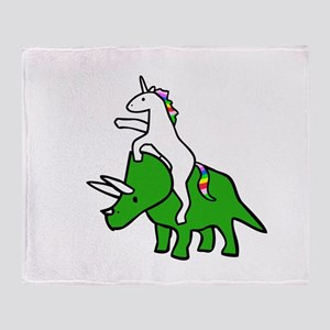 Unicorn Riding Triceratops Throw Blanket