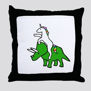 Unicorn Riding Triceratops Throw Pillow