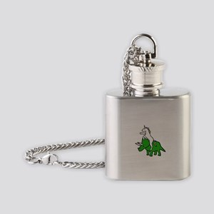 Unicorn Riding Triceratops Flask Necklace