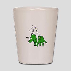 Unicorn Riding Triceratops Shot Glass