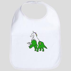 Unicorn Riding Triceratops Bib