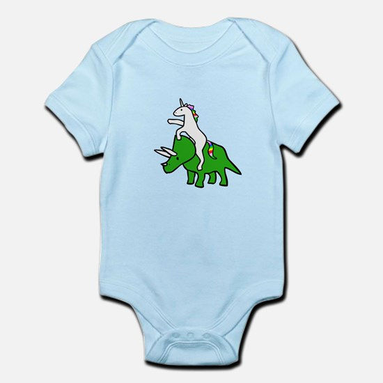 Unicorn Riding Triceratops Body Suit