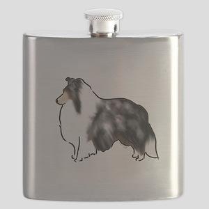 shetland sheepdog blue merle Flask