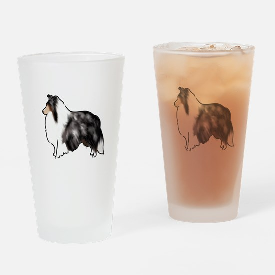 shetland sheepdog blue merle Drinking Glass