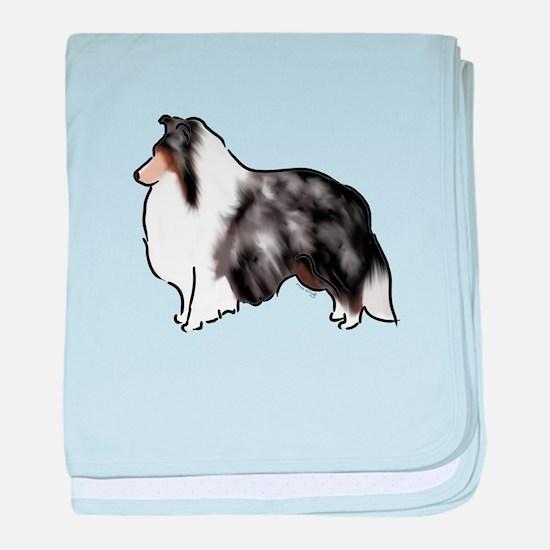 shetland sheepdog blue merle baby blanket