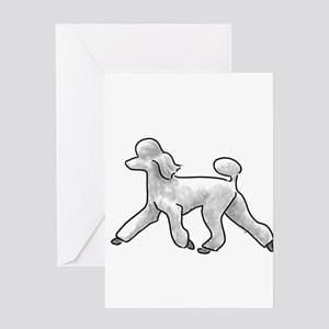 poodle white Greeting Cards