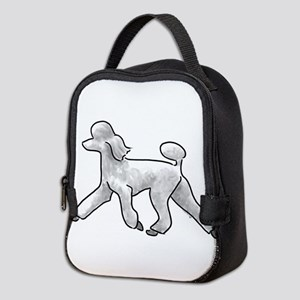 poodle white Neoprene Lunch Bag